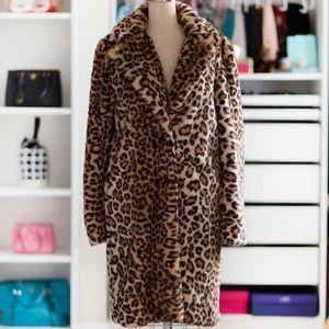 Zara Faux fur long Leopard animal print coat XS